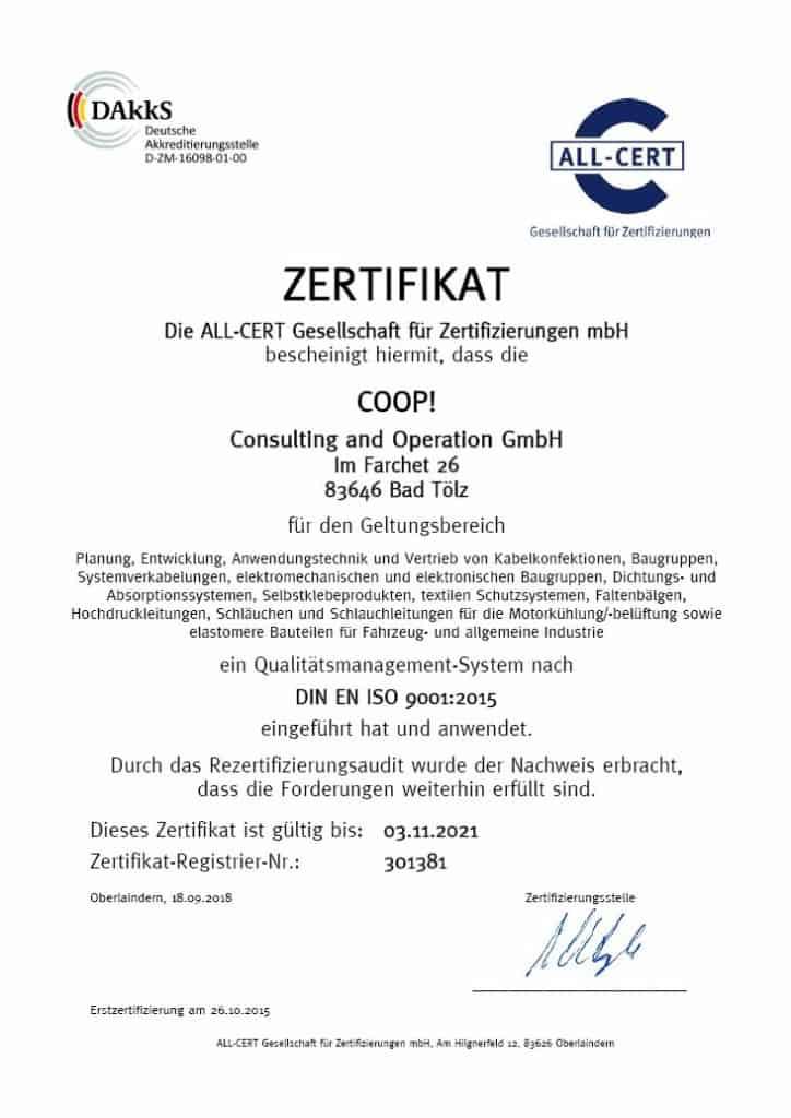 Zertifizierung DIN ISO 9001:2015
